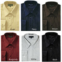 Men's Classic Stylish Striped Causal Dress Shirt 6 Colors Size 151/2 ~20 1/2