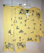 "Koret yellow w charcoal street scene print cttn-poly 2 pc set  SP 38""ch 27w EC"