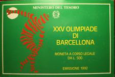 NL* ITALIA 500 LIRE ARGENTO 1992 OLIMPIADI BARCELLONA FDC SET ORIGINALE ZECCA