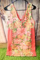 Tracy Feith Orange Floral Sleeveless Retro 13 Women's Dress