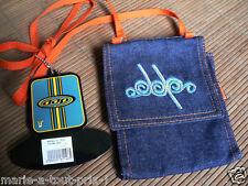 petite sacoche bandouliere en jean DDP broderie logo doublé tissu 13 x 16cm