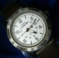 TIMEX EXPEDITION INDIGLO 905 W2 BROWN LEATHER BAND SILVER TONE WATCH DATE A30