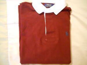 Polo Ralph Lauren Long Sleeve Rugby Shirt Custom Slim Fit L Maroon NWT Free S