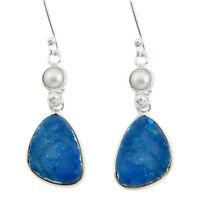 11.28cts Natural Blue Doublet Opal Australian 925 Silver Dangle Earrings D40455