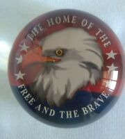 "Clear Glass Round Paperweight  Eagle Home Of The Free and the Brave 3.5"" x 1.75"""