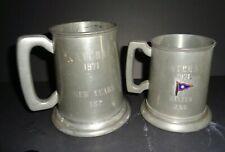 Set 2 Vintage 1971 American Yacht Club AYC Rye NY Pewter Sheffield Trophy Mugs