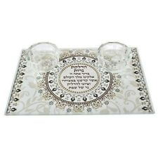 Glass Tray with Candlesticks 20x14 cm Brown Ornaments w/Candle Lighting Blessing