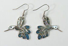 Alpaca silver hummingbird earrings with shell inlay and surgical steel ear wires