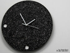 Shimmer / Black Granite Silver Glitter Concrete Wall Clock / Modern Circle Wall
