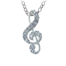 Sterling Silver CZ Treble Clef Pendant - Music Gift