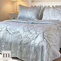 Luxury Double / King Size Embroidered Shimmering Silver Bedspread Set Modern