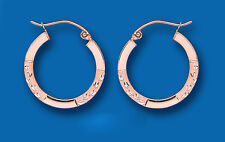 Rose Gold Hoop Earrings Red Gold Creole Hoops 20mm Hallmarked