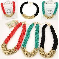 Fashion Pendant Chain Crystal Choker Chunky Statement Bib Necklace Jewelry.UK