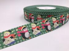 DIY 5 Yard 1'' Penguin Snowman Printed Grosgrain Ribbon Hair Bow Sewing Ribbon