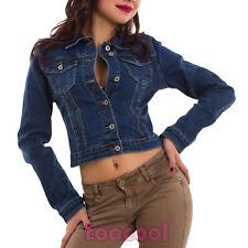 Giacca jeans donna giubbino corto giubbotto aderente avvitato nuovo E-6640