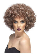 Haut femme 70's Perruque Afro naturel brun bouclés Pop Star Disco Fancy Dress Fièvre Tina