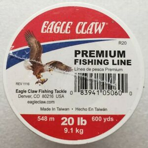 Eagle Claw 20lb 600yds Premium Fishing Line Monofilament Clear