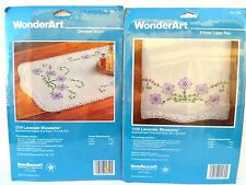 WonderArt Stamped Lavender Blossoms Dresser Scarf & Pillow Case Pair Needlecraft