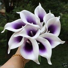 10 Picasso Purple Calla Lilies PU Latex Lily Bridal Bouquet Wedding Centerpieces