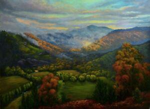 Original oil Australian landscape painting View of Mt Bogong Vic