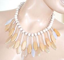 COLLANA donna avorio beige pietre cristalli perline girocollo collier F55