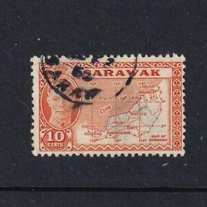 Sarawak - 1950 - SG 177 - 10c - Map of Sarawak - Used 2037