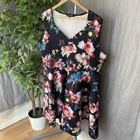 SIMPLY BE Black Multi Floral Sleeveless PLUS SIZE 24 UK Party Flare Dress