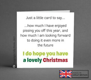 FUNNY CHRISTMAS CARD enjoy p*ssing you off future brother BFF best mate rude K13