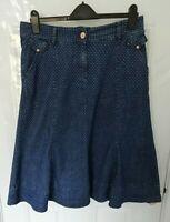 PER UNA Ladies Size 12 Blue Spot Denim Skirt Stretchy Pockets Zip Button Fasten