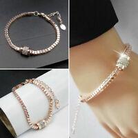 Women's Rhinestone Rose Gold Plated Crystal Bracelet Bangle Jewelry Fashion