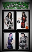 kreepsville 666 Short Black Skeleton Flare Tunic Dress for Gothic Punk Emo Women