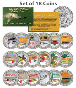Set of ALL 18 COLLECTIBLE ANTIQUE FISHING LURES JFK Kennedy Half Dollar US Coins