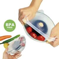 3x Wraps Silicone Seal Cover Stretch Cling Film Food Kitchen Keep Fresh Reu C8L3