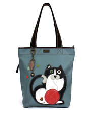 NEW CHALA BLUE FAT CAT EVERYDAY ZIP TOTE PURSE HANDBAG FAUX LEATHER