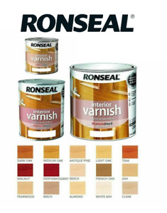 Ronseal Diamond Hard Interior Varnish Gloss Satin 250ml/750ml All Colours