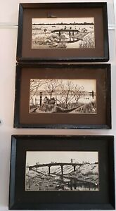 3 RARE ANTIQUE JAPANESE PEN & INK BLACK & WHITE DRAWING PICTURE LANDSCAPE