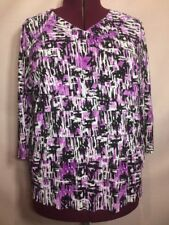 "Bon Worth XXL 48"" Bust(2X?) Purple Black Career Women's Blouse Top Shirt CC24"