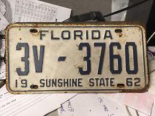 Florida License Plate 1962