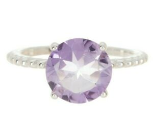 Judith Ripka 925 Sterling Silver Round Purple Amethyst Solitaire Ring Size 6