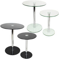 SET OF 2 ROUND GLASS TABLES HOME/LOUNGE/LIVING ROOM SIDE/END/LAMP SMALL/LARGE