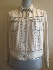 COACH DENIM BLEACHED STUDDED CREAM WOMAN'S JEAN JACKET, SIZE LARGE