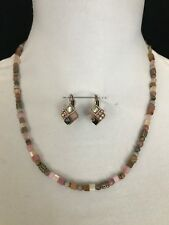 "Beautiful Michal Golan 15"" Mixed Gemstone Crystal necklace and Earrings Set"