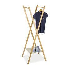 Relaxdays portant À Vêtements en Bambou pliant penderie Garde-robe avec 2 Trin