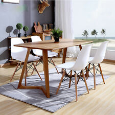 Set 4 Sedie bianche Eiffel Sedie DSW in polipropilene E gambe in legno di faggio