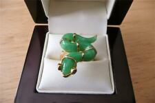 GREEN JADE & BLACK SPINEL 925 SILVER YELLOW GOLD SNAKE RING SZ L US 6