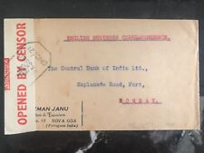 1942 Portuguese India censored cover to central bank of India Bombay