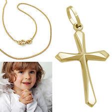 Echt Gold 585 Kinder Kommunion Baby Taufe Kreuz Anhänger mit Kette Silber 925 VG
