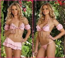Dreamgirl Knit Ruffled Open Front Tri-top, Skirt & G-String Pink Lingerie - O/S