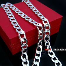 9k 9ct white gold filled GF women men curb link long  chain necklace
