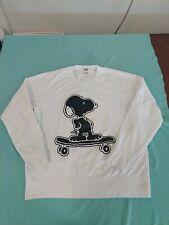 Uniqlo Kaws X Peanuts Snoopy On A Skateboard Mens Large White Long Sleeve Shirt